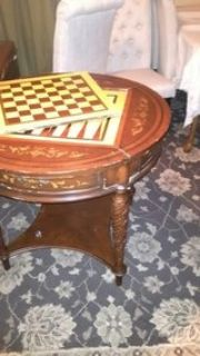 antique wood game table
