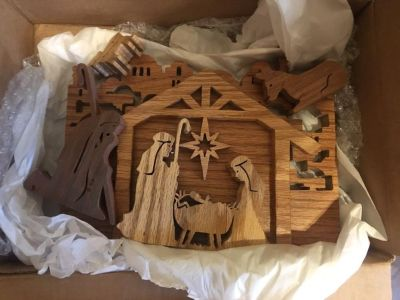 Hand carved wooden nativity scene