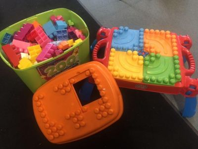 Tote of Mega Bloks and table 30.00