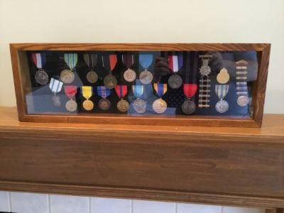 Display Case w/ 17 Medals and 2 NRA Pins