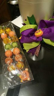 NEW Halloween child necklace and bow. $5 for both