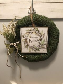 Wreaths pictured are available