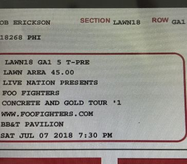 Selling 2 tix to Foo Fighters. Sat 7/7!! $70 for both