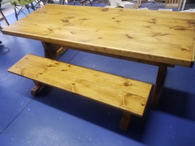 Farmhouse table and bench