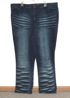 Womens Plus 24 Quizz New York High Waist Stretchy Whiskered Straight Jeans 24w