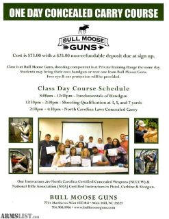 For Sale: $75 ONE DAY CONCEALED CARRY CLASS
