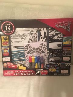 Cars Color Your Own Poster Set. Never used!