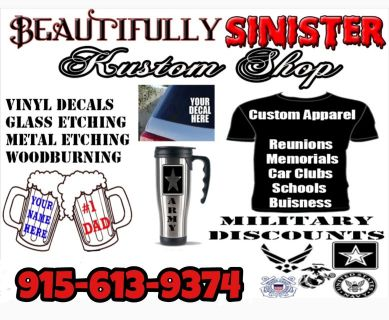 Custom t shirts, mugs, cups, vinyls, and much more!