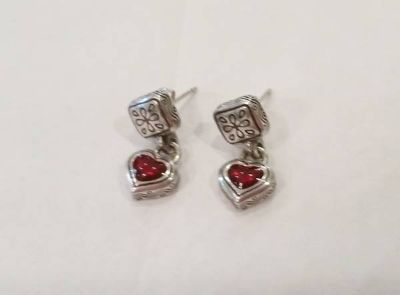 Brighton Silver Red Heart Earrings with posts