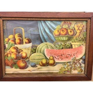 Victorian Lithograph Still Life Fruit