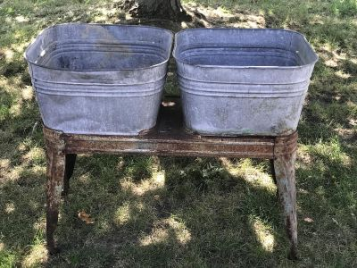 Vintage double galvanized laundry stand
