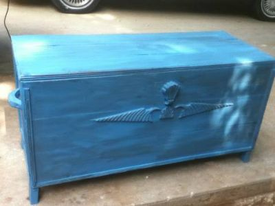 Turquoise toy box antiqued
