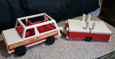 Vintage Fisher Price Jeep and Camper