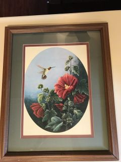 Glass frame with hummingbird picture