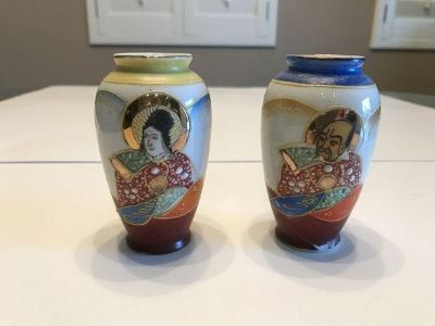 Vintage Antique Made in Occupied Japan Pair Small Vase