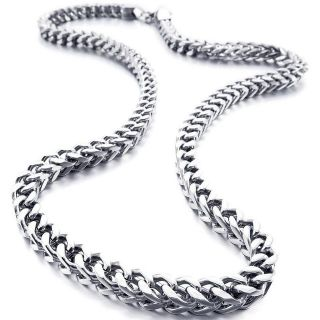 ***BRAND NEW***Men's 6mm Wide Stainless Steel Necklace Curb Chain Link Silver 23 inch***