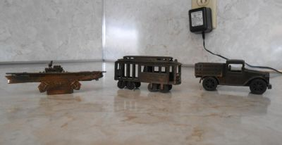 3 DIECAST PENCIL SHARPENERS w/boxes. TRUCK, CABLE CAR, SUBMARINE