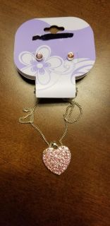 Cute Heart Necklace and Earring Set from Claire's