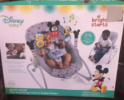 Bright Starts baby Mickey Mouse infant to toddler rocker- new open box