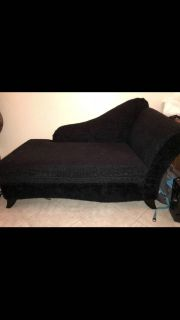 Black chaise lounge chair couch