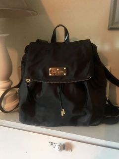 NEW BLK KATE SPADE BACKPACK it s 14 x12 PICTURES OF INSIDE POSTED MATERIAL IS NYLON