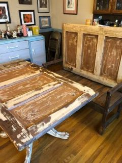INCREDIBLE UNIQUE SET Solid wood rustic table and bench set