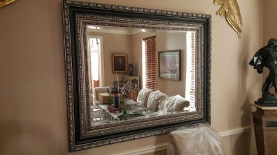 CLASSIC ITALIAN LARGE BEVELED WALL MIRROR IN EXCELLENT CONDITION