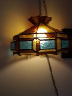 stained glass hanging light antique