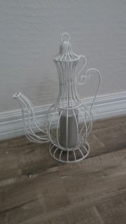White metal candle holder decor