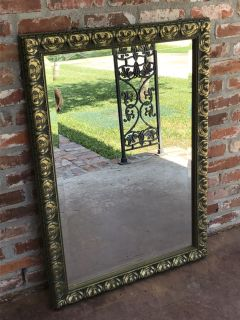 Beautiful Antiqued Gold Beveled Glass Wall Mirror