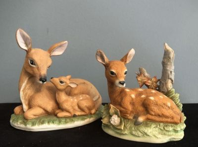 2 Small Home Interior Porcelain Deer and Fawn Figurines