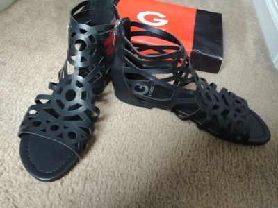 G by guess black gladiator sandals 7.5 new in box