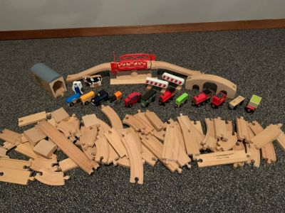Wooden Train Set with Trains