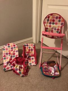 Baby doll carriers, baby doll high chair, and toddler backpack