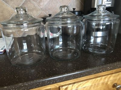 Three large glass canisters from Crate and Barrel. Approx 7.5 wide by 10 tall. $25 for all.