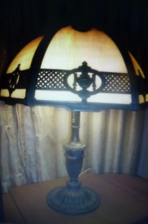 "Beautiful Authentic 22"" Tall 6 Panel Antique Slag Glass Lamp with ID Marking"