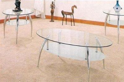 Contemporary Glass 3 PC Coffee Table