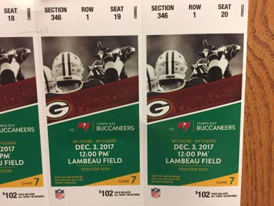 2 Packer Tickets for 12/3/17 game (THIS SUNDAY)