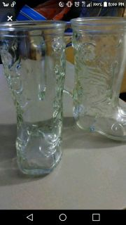 Pair of glass cowboy boots mugs