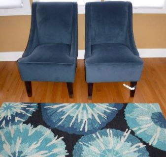 Like New! 2 Blue Swoop Chairs -AND- 3.5 x 5.5ft Matching Area Rug