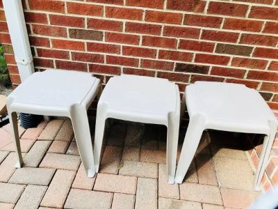 SET OF THREE PATIO/DECK TABLES