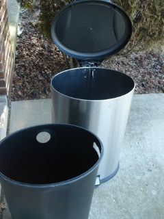OVAL STAINLESS STEEL STEP GARBAGE CAN $35
