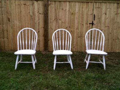 Chalk painted and aged chairs