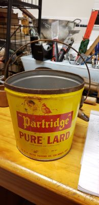 OLD PARTRIDGE PURE LARD CAN