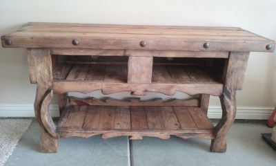 Solid pine rustic entertainment center