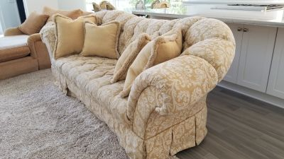 French country tufted couch