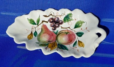 Porcelain Leaf Pattern Plate w/ Painted Fruit - Made in Italy