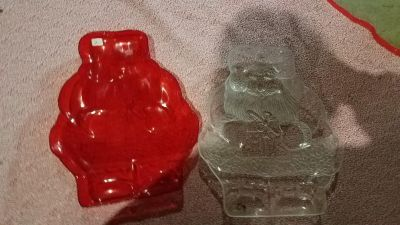 Red & Clear plastic Santa dishes
