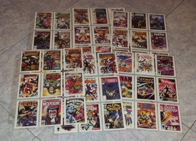 Complete Set of 1990 Marvel Comic Covers Cards. 100 Cards in Pages.