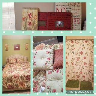 Beautiful Queen bedding set came from Dillards (over $400). Includes comforter, 2 shams, 2 decorative pillows, bed skirt, and matching frame